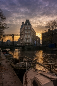 Amsterdam water sunset